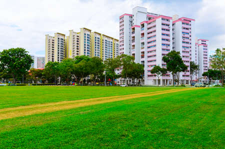 싱가포르 주거용 건물의 전망 스톡 콘텐츠