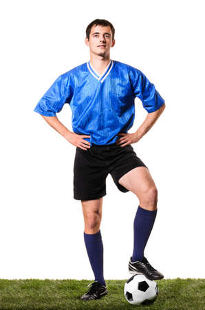 football socks: soccer or football player is standing on white background Stock Photo