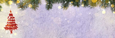 tree decorations: christmas card or new year background made of spruce handwritten on snow with fir-tree branches and red craft paper