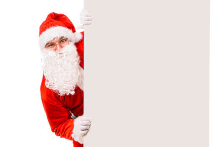billboard background: Santa Claus with blank billboard, isolated on white background Stock Photo