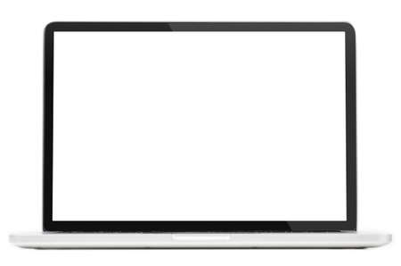 Modern laptop computer with blank screen isolated on white background Standard-Bild