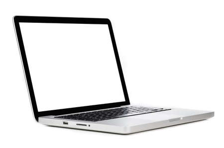 Modern laptop computer with blank screen isolated on white background Imagens