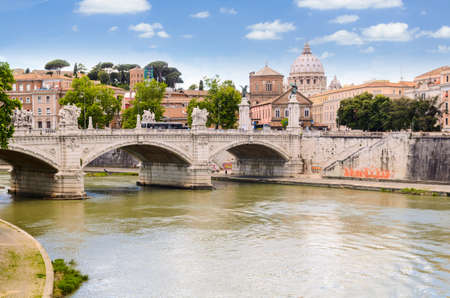 view of Ponte Principe Amedeo and St. Peters basilica, Rome, Italy