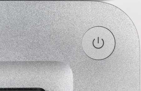 computer button: Modern laptop computer, close-up view of power button Stock Photo