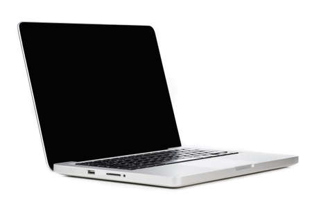 Modern laptop computer with blank screen isolated on white background Banque d'images