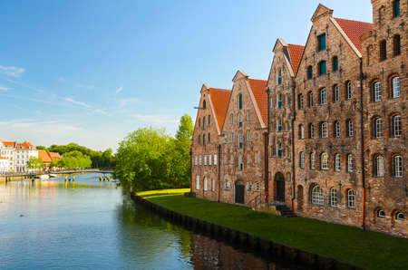 trave: street view of Lubeck, Germany