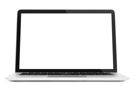 Modern laptop computer with blank screen isolated on white background Foto de archivo