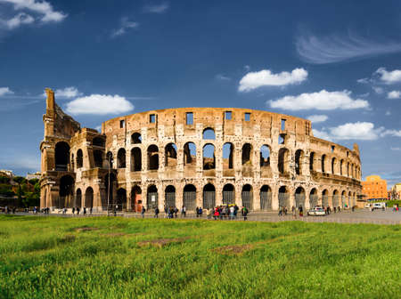 Roman Colosseum with copy space, Rome, Italy Stock Photo