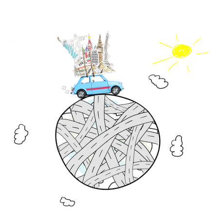 Around the world travel memories. Blue retro toy car with famous monuments on roof at cartoon planet. Stock Photo