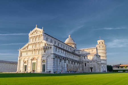 cattedrale: Sunset view of Leaning Tower of Pisa and Cathedral, Tuscany, Italy Stock Photo
