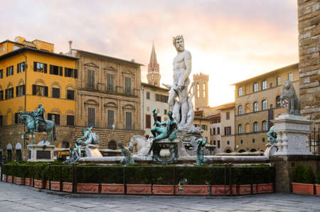 Fountain of Neptune sunrise view, Florence, Italy Stock Photo