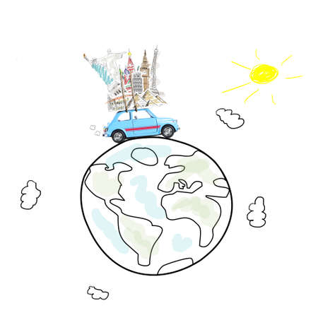 Around the world travel memories. Blue retro toy car with famous monuments on roof at cartoon planet Stock Photo
