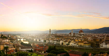 Florence summer sunset panoramic view, Tuscany, Italy Stock Photo