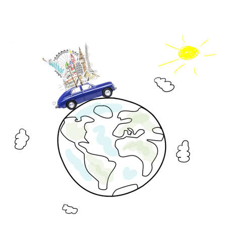 world travel: Around the world travel memories. Blue retro toy car with famous monuments on roof at cartoon planet. Stock Photo