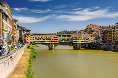 Florence Ponte Vecchio view at summer, Tuscany, Italy Stock Photo