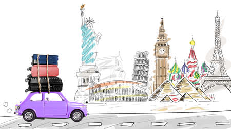 Around the world. Blue retro toy car with travel cases driving by famous monuments. Stock Photo