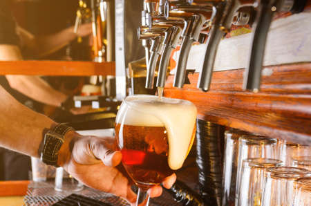 Bartender, mano, Verter, tiro, cerveza, vidrio, pub, golpecito Foto de archivo