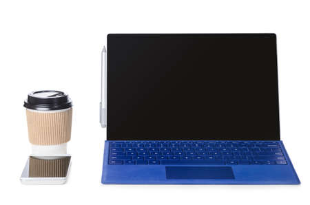 Convertible laptop computer with pen support and detachable keyboard isolated on white background