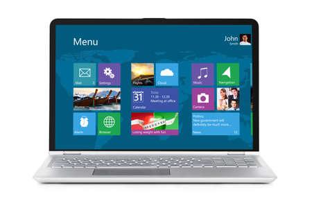 Computer portatile convertibile con interfaccia del sistema operativo sullo schermo isolato su sfondo bianco Archivio Fotografico - 79093913