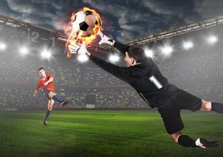 Fútbol, ??fútbol, ??portero, captura, pelota, estadio Foto de archivo - 79098662