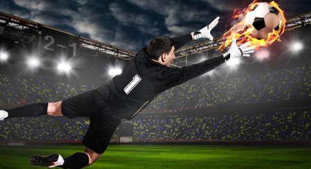 Fútbol, ??fútbol, ??portero, captura, pelota, estadio Foto de archivo - 79098665