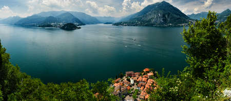 castello: Aerial view on Lake Como and Varenna from Castello di Vezio, Lombardy, Italy