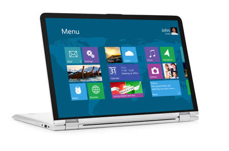 Convertible laptop computer with operating system interface on screen isolated on white background