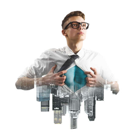 tearing down: Business superhero double exposure concept. Young businessman showing super hero suit under his shirt
