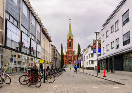 MIKKELI, FINLAND - MAY 23, 2017 Day view of Hallituskatu street, Mikkeli Editorial