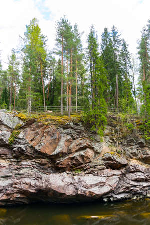 Vuoksa river and rocky canyon view in Imatra, Finland
