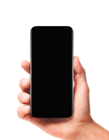 Modern bezel-less smartphone in male hand with black screen isolated on white background