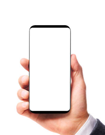 Modern bezel-less smartphone with blank screen in male hand isolated on white background