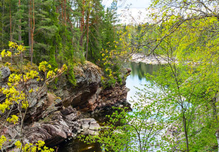 suomi: Vuoksa river and rocky canyon view in Imatra, Finland