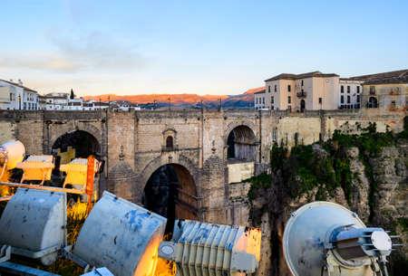 Ronda sunset bridge view at evening, Andalusia, Spain Stock Photo