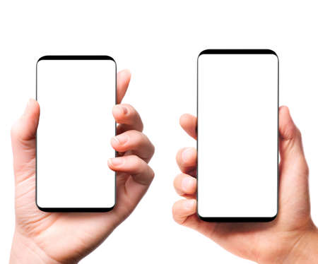Bezel-less smartphones with blank screens in male and female hands isolated on white background