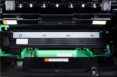 Laser printer opened for maintenance