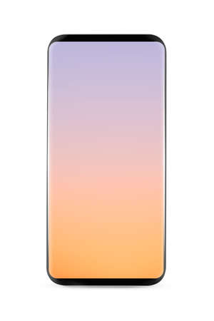 Bezel-less smartphone mockup with blank screen isolated on white background