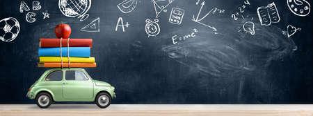 Di nuovo allo sfondo della scuola. Automobile che trasporta libri e mela contro la lavagna con i simboli dell'educazione. Archivio Fotografico - 82690666