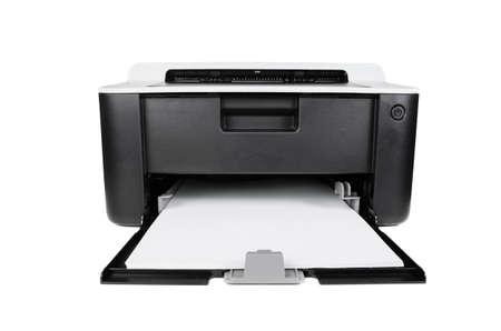 흰색 배경에 고립 된 소형 레이저 가정용 프린터