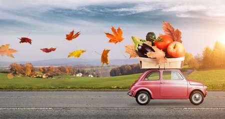 Autumn red car with fallen leaves delivering fruits and vegetables against sunset rural landscape