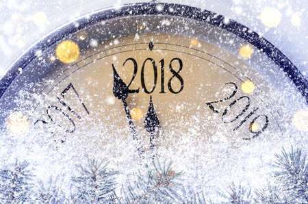 Countdown to midnight. Retro style clock counting last moments before Christmass or New Year 2018.