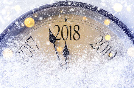 Countdown to midnight. Retro style clock counting last moments before Christmas or New Year 2018. Reklamní fotografie - 88020241