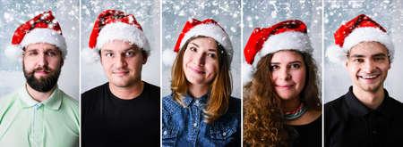 Gruppo di persone che festeggiano il Natale o Capodanno indossando il cappello della Santa Archivio Fotografico - 88600258