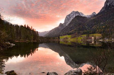 Alpine lake Hintersee autumn sunset view, Bavaria, Germany Stock Photo