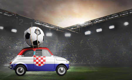 Croatia flag on car delivering soccer or football ball at stadium Stock Photo