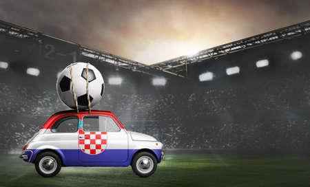 Croatia flag on car delivering soccer or football ball at stadium Standard-Bild