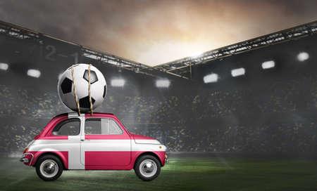 Denmark flag on car delivering soccer or football ball at stadium