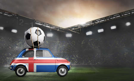 Iceland flag on car delivering soccer or football ball at stadium