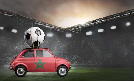 Morocco flag on car delivering soccer or football ball at stadium Stok Fotoğraf