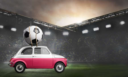 Poland flag on car delivering soccer or football ball at stadium
